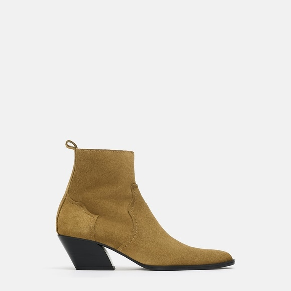 1b4ab40006c6 Zara Suede Leather Cuban Cowboy Heel Ankle Boot
